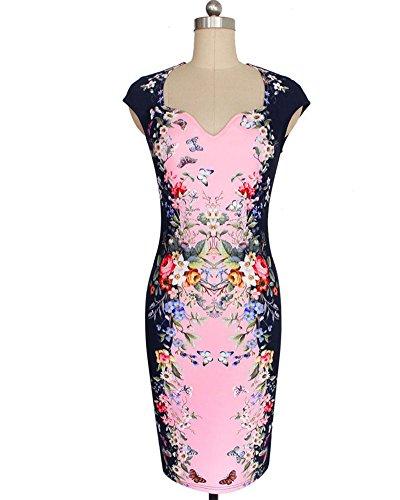 Mujeres Elegant Ajustado Vestidos Floral Impresión Vestido Pink