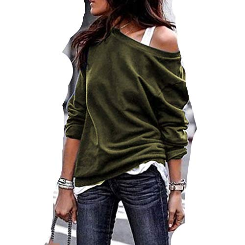 Birdfly 7 Solid Color Women Basic Solid Color One-Shouder Blouse Fashion T-Shirt Under 10 Doller (L, Army Green) ()
