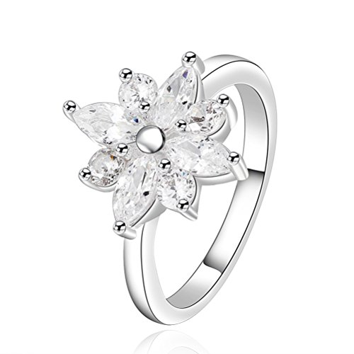 SunIfSnow Girls Classic Big Personality Flower Rings 8