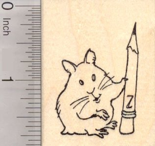 Hamster with Pencil, Academic Teacher Rubber Stamp