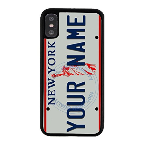 BleuReign Personalized Custom Name 1990s New York State License Plate Rubber Phone Case Back Cover for Apple iPhone X Xs ()