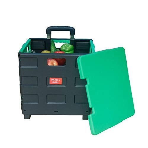 Compras Black Caja Ligero DCRYWRX Plástico Portátil Black Plegable Resistente Plegable Desmontable con Carro del Asiento Carrito Mano Y 5xqf1