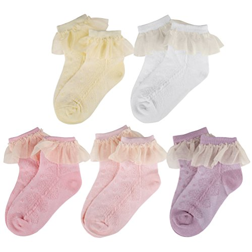 Vbiger Girls Cute Eyelet Frilly Princess Lace Ruffles Socks Toddler/ Little Girls Ankle Socks, 5 Pairs£¨5-7 years) by VBIGER (Image #5)