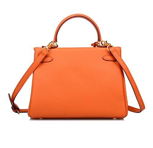 Women's Hobo Handbags Shoulder Orange Ainifeel 28CM Purses Padlock Bag CM 25 32CM 6TxdqwZ