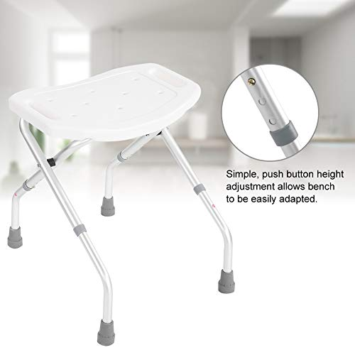 Folding Bath Shower Seat Bathroom Chair Disability Aid Stool Suction Style Feet Stable Framewor, Adjustable Lightweight Shower Bench with Aluminum Legs
