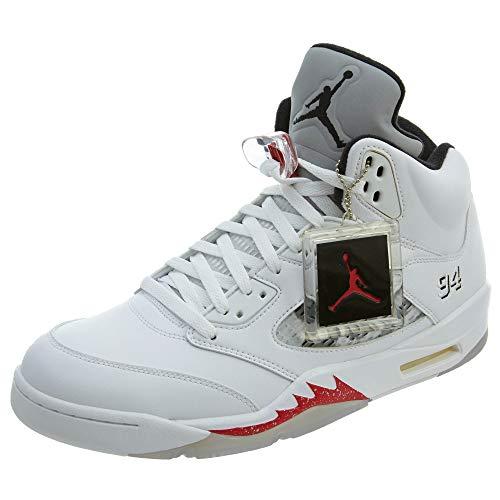 Nike Mens Air Jordan 5 Retro Supremeホワイト/black-varsityレッドレザー