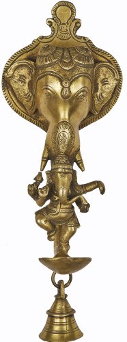 Elephant Wall Hanging Lamp and Bell with Dancing Ganesha - Brass Sculpture -