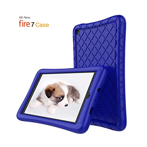 Roscea Fire 7 Case,Kindle Fire 7,Soft Silicone Case Tablet for All-New Amazon Fire 7 Tablet(7th Generation, 2017 Release)-[Anti Slip] Shockproof Back Cover [Kids Frienly] Light Weight,Navy Blue