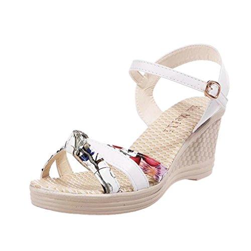 2018 Verano Sandalias y Chanclas, WINWINTOM Nuevo Dama Mujer Porciones Zapatos Verano Sandalias Plataforma Toe Alto Tacón Casual Zapatos Blanco
