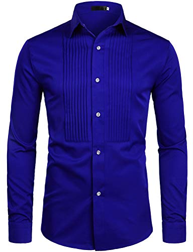 ZEROYAA Mens Slim Fit Long Sleeve Tuxedo Dress Shirts/Prom Performing Shirts (Large, Z54-Royal Blue)