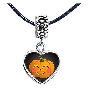 Chicforest Silver Plated happy Halloween Jack O lantern pumpkin Photo Flower Head Dangle Heart Charm Beads Fits Pandora Bracelet