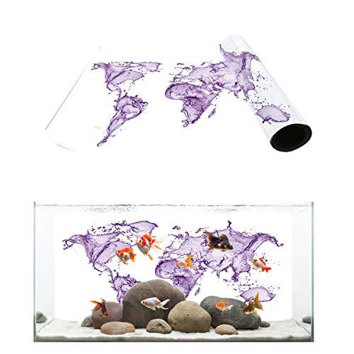 T&H Home Aquarium Décor Backgrounds - Purple Fluid Design World Map Watercolor White Background Fish Tank Background Aquarium Sticker Wallpaper Decoration Picture PVC Adhesive Poster, 48.8
