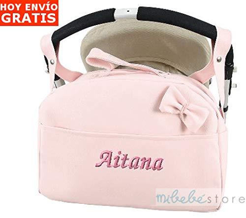 mibebestore - Bolso Polipiel Carrito Bebe Personalizado con nombre bordado ROSA - Nombre bebé bordado: Amazon.es: Bebé