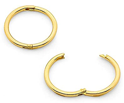 d191fad15f59e7 365 Sleepers 1 Pair 22ct Gold Plated Solid Sterling Silver 8mm Hinged Hoop  Sleepers Earrings Made in Australia: Amazon.co.uk: Jewellery