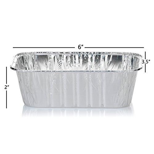 DOBI Mini Loaf Baking Pans - Disposable Aluminum Foil small Bread Tins, 6'' X 3.5'' X 2'' (Pack of 50) by DOBI (Image #2)