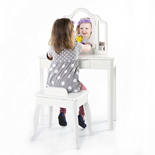 Girls Sweetheart Vanity Table and Stool Set with 3 Mirrors and Make-Up Drawer - White by Guidecraft