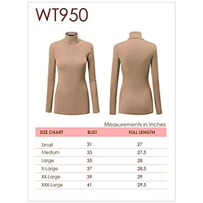 Lock and Love Women's Soft Basic Lightweight Long Sleeve Turtleneck Top S-3XL_Made in U.S.A. at Women's Clothing store