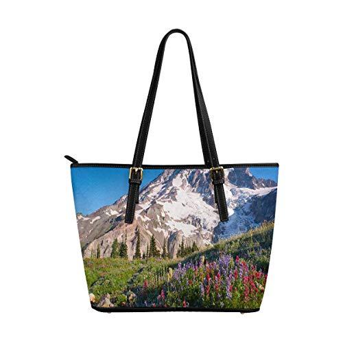 InterestPrint Mt Rainier National Park Wildflowers Summer Time Women's Work Totes Large Capacity Shoulder Bags