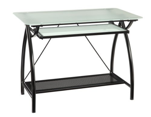 OSP Designs Office Star Office Star Newport Computer Desk with Frosted Tempered Glass Top, Pullout Keyboard Tray, and Black Powder Coated Steel Frame by OSP Designs