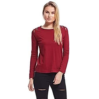 Amenapih T-Shirts For Women, Burgundy M
