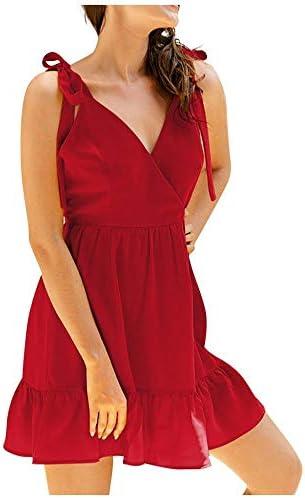 zzzddd Boho Kleid,Rote Kleider Für Frauen Frauen Sexy Party Kleid Ärmelloses Unterhemd Solide Strand Kleid Boho Kleid Robe, Geeignet Für Jeden Anlass.