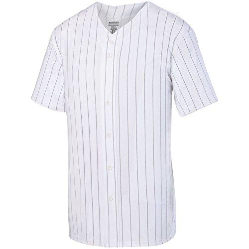 Augusta Sports Pinstripe Full Button Baseball Jersey, White/Black, Medium