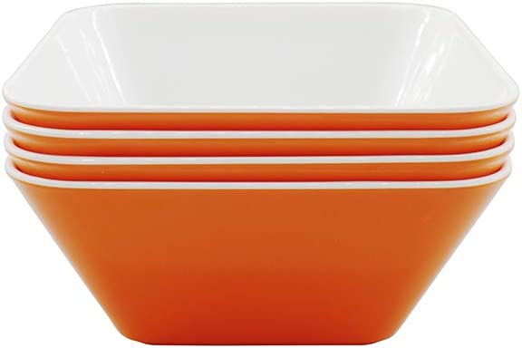M&BGWPP Set of 4 - Large melamine Plastic Serving Bowls, Reusable Square Mixing Bowl, for Party Side Dishes, Snack and Salad, Square Popcorn Party Tub Bucket. (White&Orange)