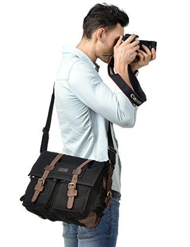 ad21a1f69b6a Kattee Leather Canvas Camera Bag Vintage DSLR SLR Messenger Shoulder Bag  Black - KAUF.COM is exciting!