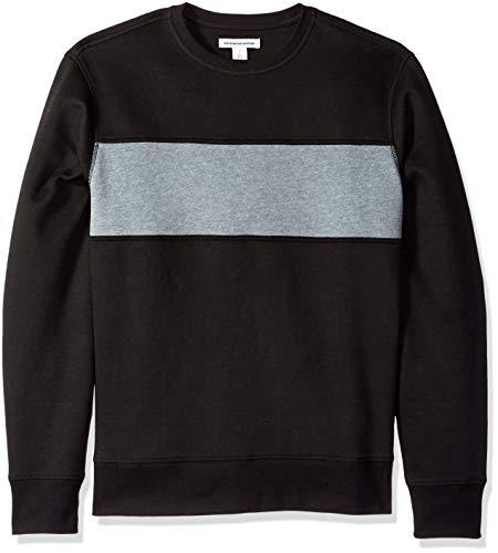 Amazon Essentials Men's Crewneck Fleece Chest Stripe Sweatshirt, Black/Light Gray Heather, ()