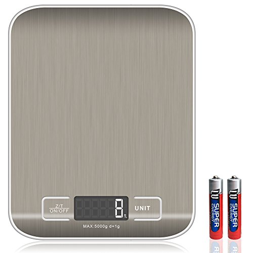FlatLED-Digital-Kitchen-Scale-Multifunction-Food-Kitchen-Scale-Measurement-Gram-Scale-11lb-5kg-with-High-Accuracy-LCD-Display-Stainless-Steel-and-Slim-Design-Batteries-Included