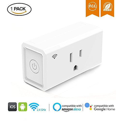 WiFi Smart Plug, Teamyo Mini Socket Outlet Compatible with Alexa Echo and Google Assistant, No Hub Required, Energy Monitoring Switch with Timing Function by Teamyo
