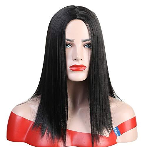 Wig High Temperature Silk Black Split Straight Hair Wig]()