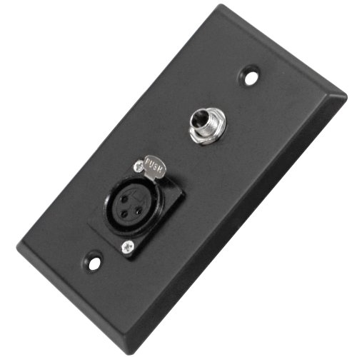 "Seismic Audio Black Stainless Steel Wall Plate - One 1/4"" TS"