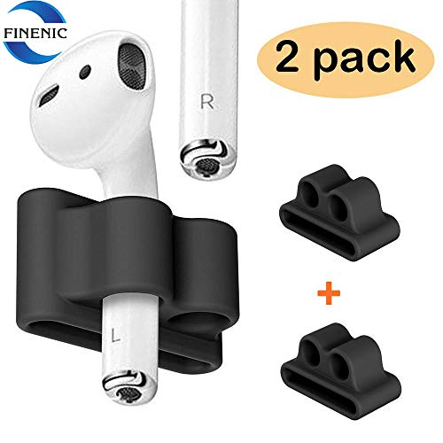 FINENIC Airpods Watch Band Holder, Shock Resistant Silicone Holder, Portable Anti-Lost Airpods Accessory, Compatible for Apple Airpod 1/2 (Black + Black)?2 Pack?
