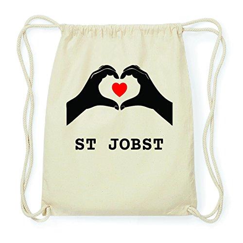 JOllify ST JOBST Hipster Turnbeutel Tasche Rucksack aus Baumwolle - Farbe: natur Design: Hände Herz yFWUpW9gc