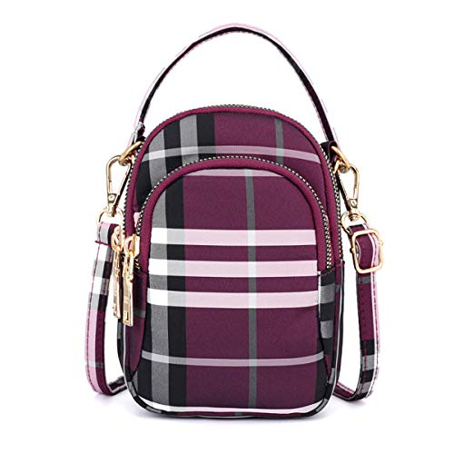- Women Men Multi Crossbody Bags Waterproof Travel Bag Tiny Chest Pouch 3 Pockets Wallet Hold Smartphones Adjustable Strap For Sports Plaid purple