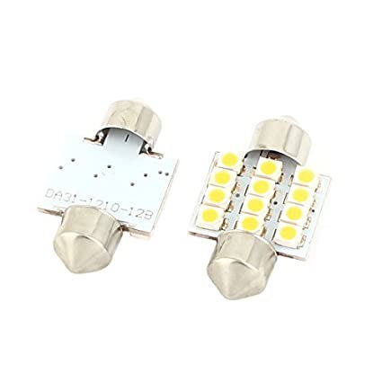Amazon.com: eDealMax 2pcs 31mm 12 LED Blanco cálido Adorno Mapa Luz Interna (Pack DE 2): Automotive