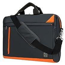 Vangoddy ADLER MESSENGER BAG School College Laptop Computer Backpack Lightweight Fits 13-Inch 14-Inch 15.6 Notebook 11 Inch 12 Inch Tablet Bag, Black/Orange