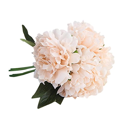 Luweki Artificial Silk Fake Flowers Peony Floral Wedding Bouquet Bridal Hydrangea Decor (One Size, Pink)