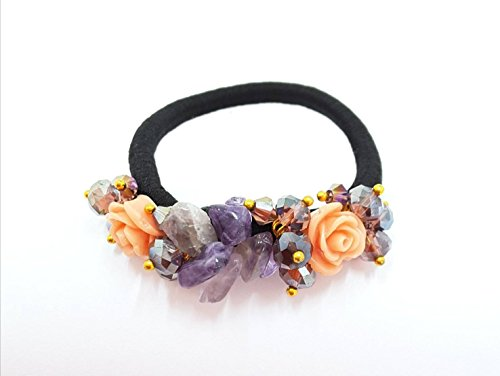 UNIQUE: HANDMADE - AMETHYST AND ROSE CANTALOUPE TONE ELASTIC PONYTAIL HOLDER