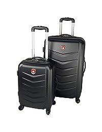 Canada Black Lightweight Hard Side Wheeled Suitcase 2 Piece Luggage Set