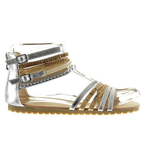 Sexy Brillant Angkorly Argent 1 Sandale 5 Talon Bride Chaussure Plat Multi cm Femme Chaïnes Mode 8aatRrg
