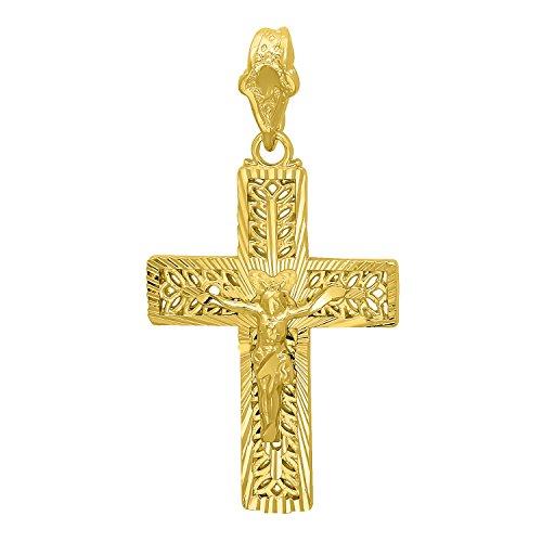 14k Gold Plated 26mm x 36mm Ornate Olive Branch Inlay Crucifix Pendant + Microfiber Jewelry Polishing Cloth