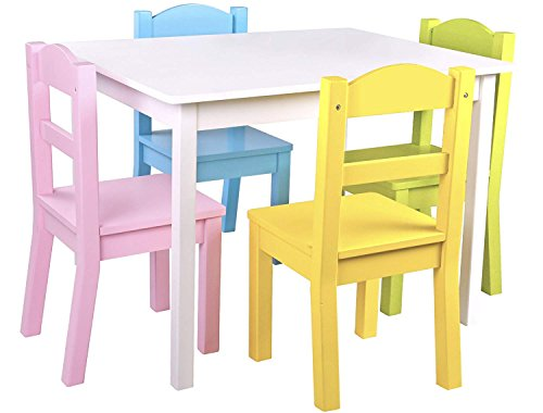 Pidoko Kids Table and Chairs Set - 4 Chairs and 1 Activity Table for Children - Educational Toddlers Furniture Set (White/Pastel) -