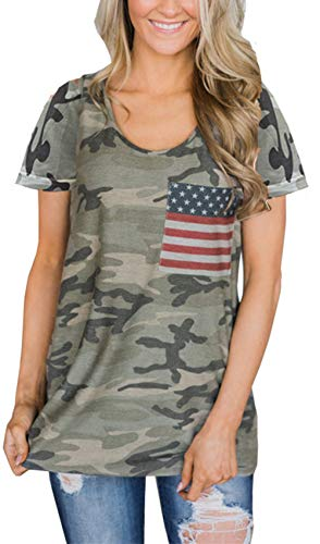 Womens American Flag Shirt Short Sleeve USA 4th of July Flag Top Loose T-Shirts (Style 4, XX-Large)