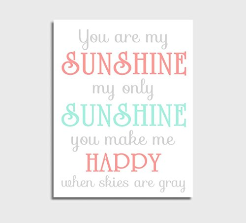 Coral Canvas Baby Girl Nursery Wall Art Mint You Are My Sunshine Baby Nursery (Pottery Mint)