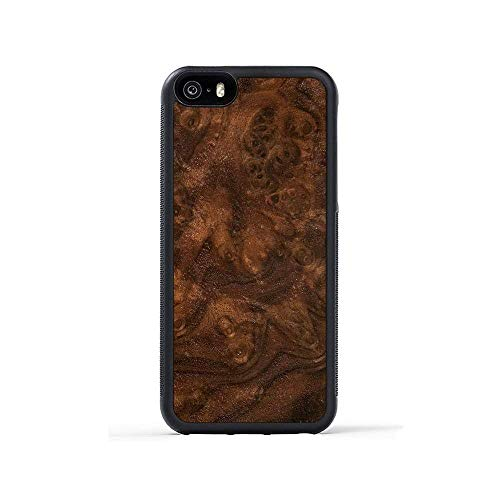 iPhone 5 / 5s / SE Walnut Burl Wood Traveler Case by Carved, Unique Real Wooden Phone Cover (Rubber Bumper, Fits Apple iPhone 5 / 5s / SE)