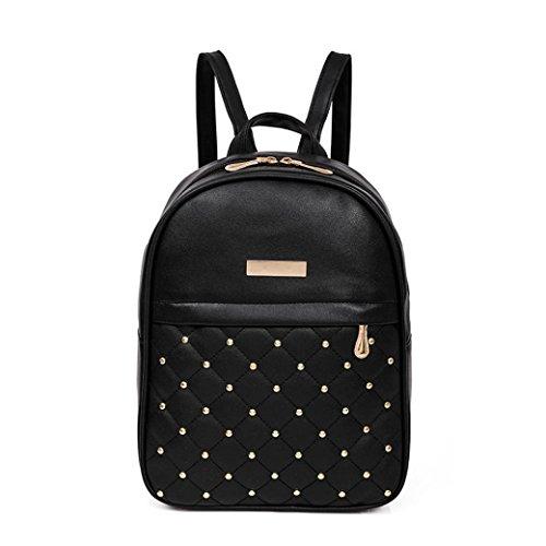 VIASA Women Rivet Backpack Fashion Causal Bags Bead Female Shoulder Bag Backpacks Lightweight Backpack School Bag Travel Daypack Medium Handbag Purse (Black)