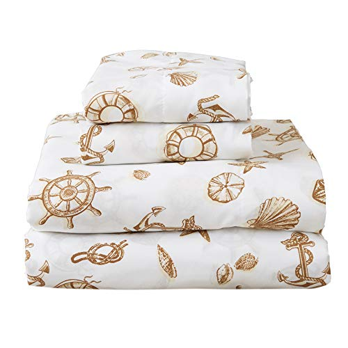 Great Bay Home Printed Coastal Microfiber Bed Sheets. Wrinkle Free, Deep Pockets, Beach Theme Sheet Set. Newport Collection (Queen, - Newport Bed Bedroom Queen