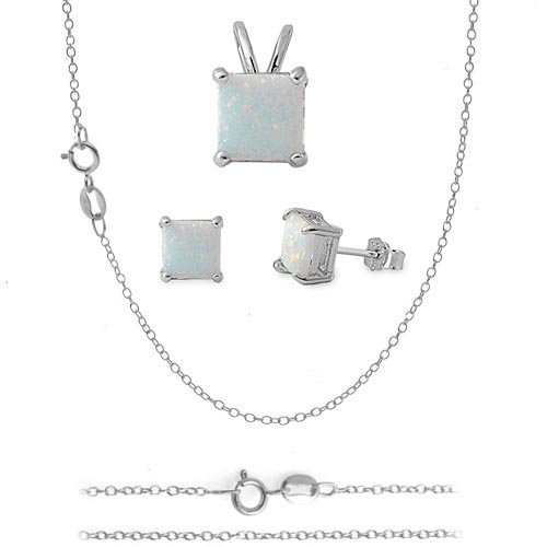 THE ICE EMPIRE JEWELRY, LLC Square White LAB Opal Sterling Silver Pendant Earring 16in-18in Chain Combo Set (16 Inches.925 Italian Sterling Silver)